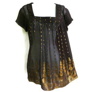 DKNYC Blouse Square Neck Sheer Gold Lurex